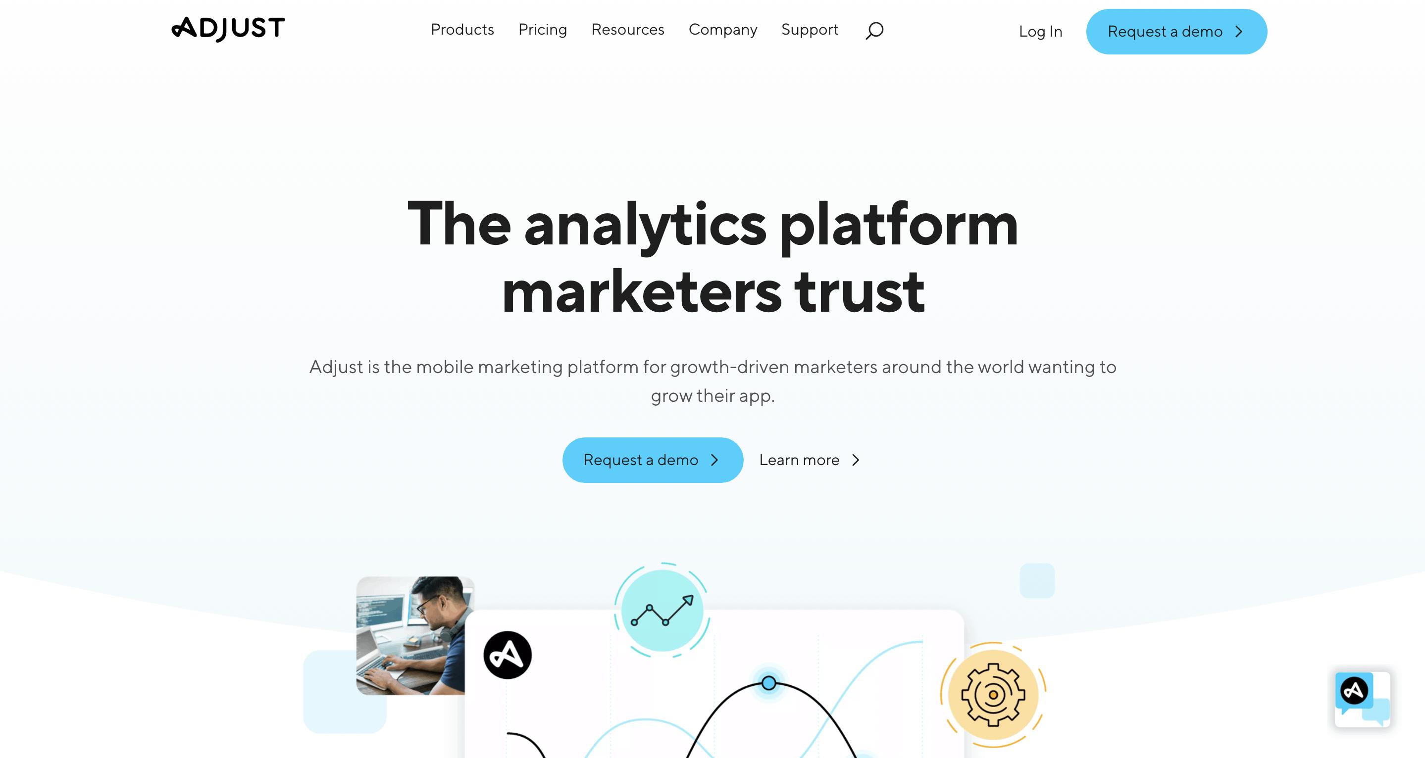 Adjust Webseite Screenshot