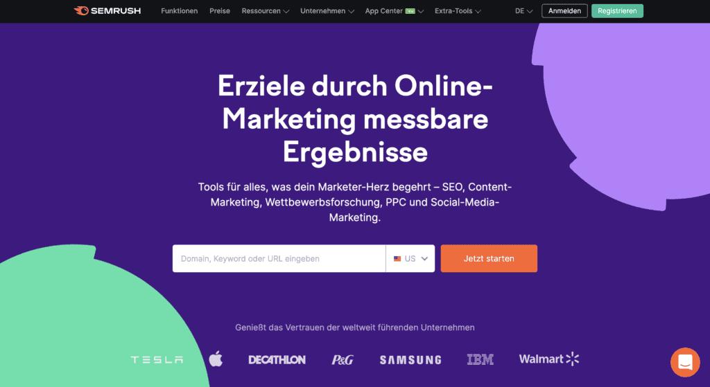 SEMrush Webseite Screenshot