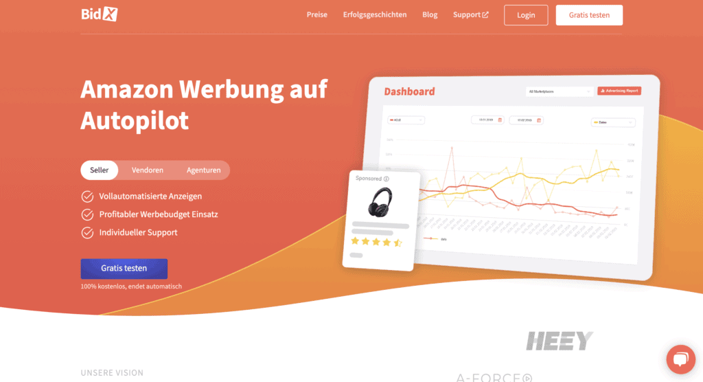 BidX Webseite Screenshot